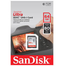 SanDisk Ultra SDXC memory card 64GB Class 10 UHS-I. Read: up to 80MB/s SDSDUNC-064G-GN6IN