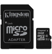 16GB Kingston Micro Secure Digital (SDHC) Memóriakártya G2 UHS-I 45R/10W Class 10+1 Adapter