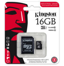 Kingston 16GB microSDHC UHS-I Class 10 Industrial Temp Card + adapter. SDCIT/16GB
