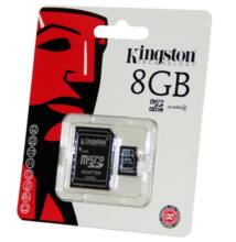 Kingston 8GB Micro SDHC Memóriakártya Class 4 + Adapter (SDC4/8GB)
