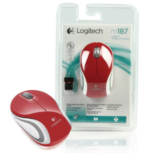 Logitech m187 mini wireless egér, piros - 03224