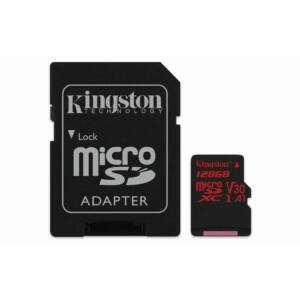 Kingston Canvas React 128GB microSD memóriakártya + Adapter 4K U3 UHS-I (100R/80W) SDCR/128GB - SDCR/128GB
