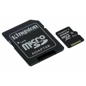 Kingston Canvas Select 256GB microSD memóriakártya + SD adapter Class 10 UHS-I (80MB/s olvasás)  (SDCS/256GB)
